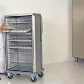 Cabinet trolleys for pharmaceutical transport